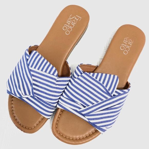 Blue White Striped Sandal Franco Sarto